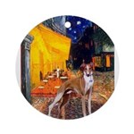 Cafe & Whippet Ornament (Round)