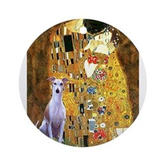 Kiss & Whippet Ornament (Round)