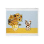 Sunflowers / Yorkie #17 Throw Blanket