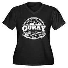 Ouray Old Circle Women's Plus Size V-Neck Dark T-S