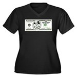 Satirical 100 dollars bill Women's Plus Size V-Nec