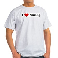 I Love Skiing Ash Grey T-Shirt