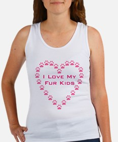 I Love My Fur Kids W/Paw Hear Women's Tank Top