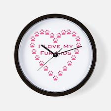 I Love My Fur Kids W/Paw Hear Wall Clock