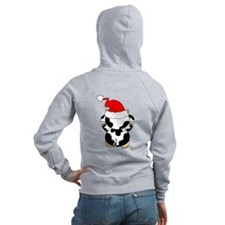 Cartoon Cow Santa Zip Hoodie