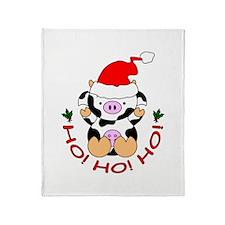 Cartoon Cow Santa Throw Blanket