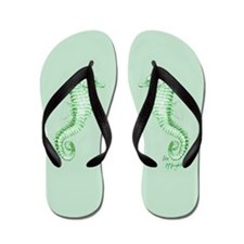 green/lime seahorses family Flip Flops