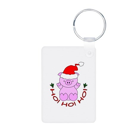 Cartoon Pig Santa Aluminum Photo Keychain