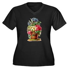 Vintage floral Women's Plus Size V-Neck Dark T-Shi
