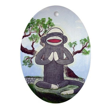 Sock Monkey Nirvana Ornament (Oval)