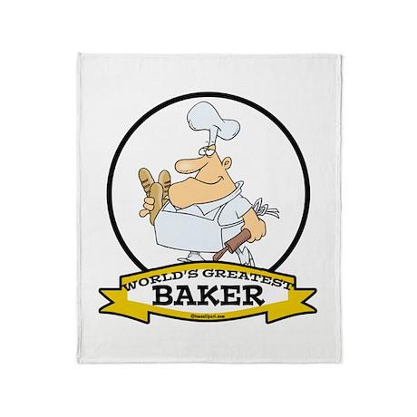 WORLDS GREATEST BAKER CARTOON Throw Blanket