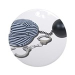 Jailbird Handcuffs Ball Chain Ornament (Round)