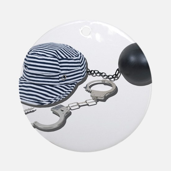 Jailbird Handcuffs Ball Chain Ornament (Round)