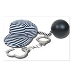Jailbird Handcuffs Ball Chain Postcards (Package o