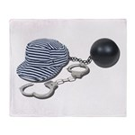 Jailbird Handcuffs Ball Chain Throw Blanket