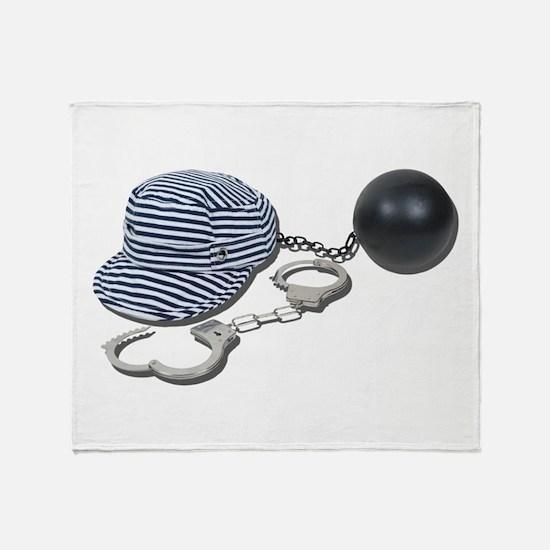 Jailbird Handcuffs Ball Chain Throw Blanket