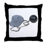 Jailbird Handcuffs Ball Chain Throw Pillow