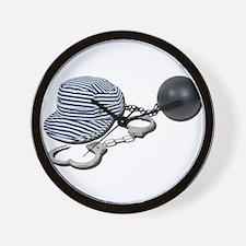 Jailbird Handcuffs Ball Chain Wall Clock