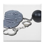 Jailbird Handcuffs Ball Chain Tile Coaster