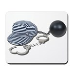 Jailbird Handcuffs Ball Chain Mousepad