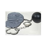 Jailbird Handcuffs Ball Chain Rectangle Magnet (10