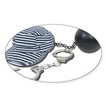 Jailbird Handcuffs Ball Chain Sticker (Oval 10 pk)