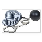 Jailbird Handcuffs Ball Chain Sticker (Rectangle)
