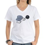 Jailbird Handcuffs Ball Chain Women's V-Neck T-Shi