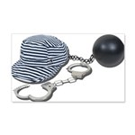 Jailbird Handcuffs Ball Chain 22x14 Wall Peel