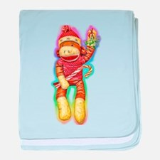 Christmas Sock Monkey Clothin baby blanket