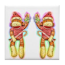 Glowing Christmas SockMonkey Tile Coaster
