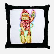 Glowing Christmas SockMonkey Throw Pillow