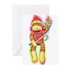 Glowing Christmas SockMonkey Greeting Cards (Pk of