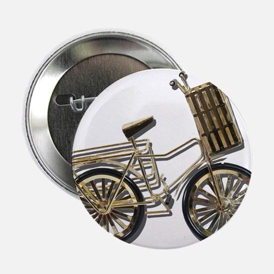 """Golden Bicycle with Basket 2.25"""" Button"""
