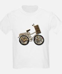 Golden Bicycle with Basket T-Shirt