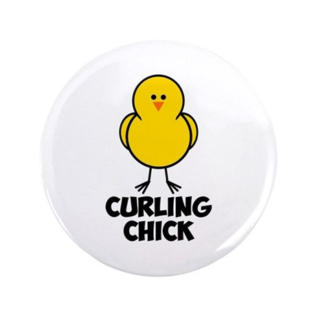 """Curling Chick 3.5"""" Button (100 pack)"""