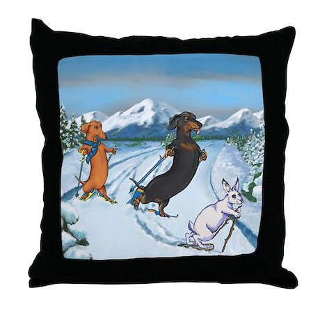 Ski Dachshunds Throw Pillow