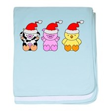 Cow, Pig & Chicken Santas baby blanket