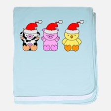 Cow, Pig & Chicken Santas baby blanket