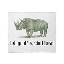 Endangered Rhinoceros Throw Blanket