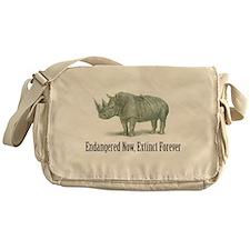 endangered rhinoceros Messenger Bag