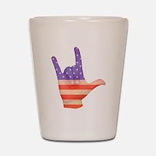 USA Flag ILY sign language hand Shot Glass