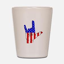 I Love USA Sign Language hand Shot Glass