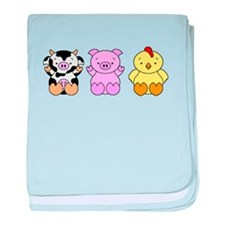 Cute Cow, Pig & Chicken baby blanket