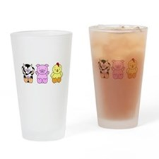 Cute Cow, Pig & Chicken Drinking Glass