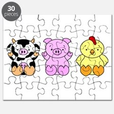 Cute Cow, Pig & Chicken Puzzle