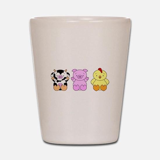 Cute Cow, Pig & Chicken Shot Glass