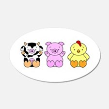 Cute Cow, Pig & Chicken 22x14 Oval Wall Peel