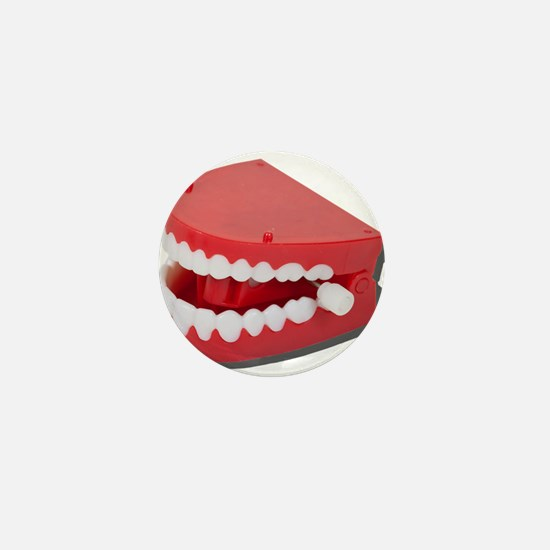 Fake Chattering Teeth Mini Button