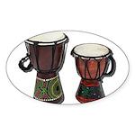 Djembe Drums 1 Sticker (Oval 50 pk)